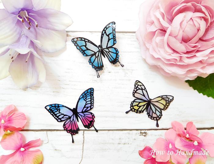 ダイソーのプラバンで蝶の作り方!立体的にする方法と型紙の取り方